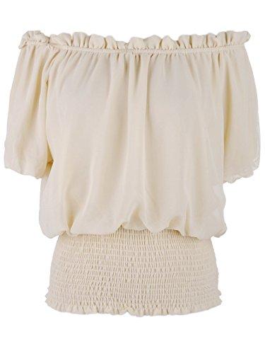 Anna-Kaci Camiseta de manga corta para volantes elástico Off hombro Boho blusa Top Beige beige Medium