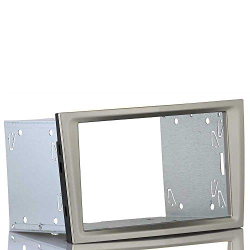 Preisvergleich Produktbild Einbauset passend für OPEL Astra H,  Corsa D (Doppel 2 DIN Radioblende satin stone / champagner beige + Einbaurahmen)