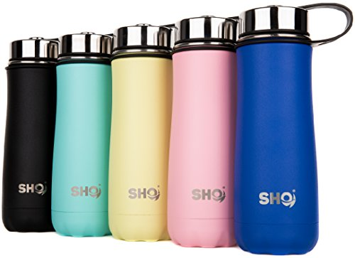 SHO Fortis - Ultimate Insulated, Double Walled Stainless Steel Vacuum Flask, Water Bottle & Tumbler - 10 Hours Hot & 20 Hours Cold - 590ml - BPA Free (Aqua, 590ml)