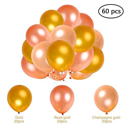 Globos Confetti 60pcs Globos de Látex 12 Pulgadas Espesar balón 12 Color Sólido Globo 3 Colores Surtidos con Cinta de Globo para Decoraciones de Fiesta Graduación Cumpleaños Boda de Esonmus
