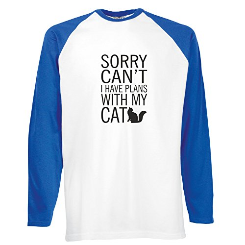 Brand88 - Sorry Can't I Have Plans With My Cat, Langarm Baseball T-Shirt Weiss & Blau