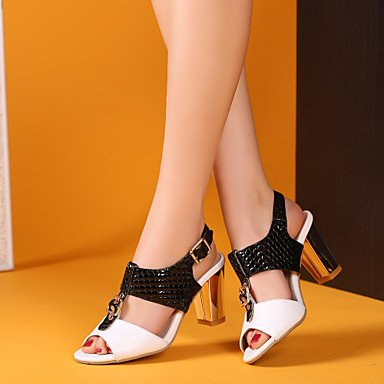 LFNLYX Donna Sandali Comfort estivo / cinturino alla caviglia in pelle di brevetto Office & Carriera / Party & Sera / Casual Chunky tacco fibbia / giunto di separazione Black/White