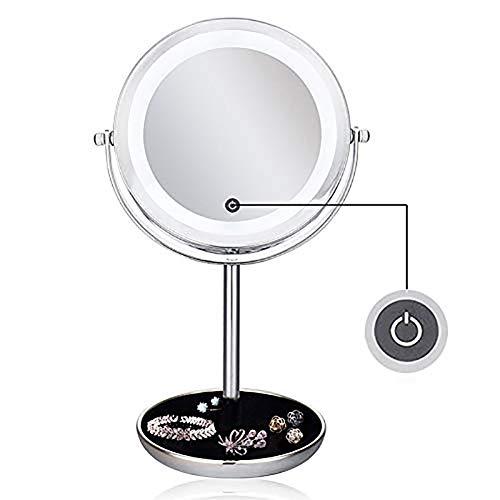 ZNDDB Doppelseitige LED Kosmetikspiegel 1X / 5X Vergrößerung Für Badezimmer oder Schlafzimmer Countertop Schminkspiegel Mit 360 ° Rotation Touch Sensing