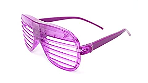 Ultra ® 1 x Purple Coloured Flashing Retro LED Shutter Style Glasses Slotted for Adults and Kids Parties Party Events Raves Dance Clubs and Costume Parties Pink Green Blue Purple White Coloured Slotted Shades Novelty Eyewear Glowing Light Up