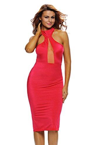 ILFtrend Neckholder Schulterfrei Abendkleid Partykleider Midi Kleid Rot