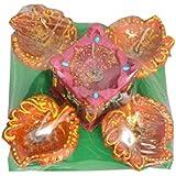 Gvdream Handmade 4 Leaf Shape Decorative Diya With A Tulsi Diya - Set Of 5 Smokeless, Multicolor Home Decor Diya Set For Diwali Decoration
