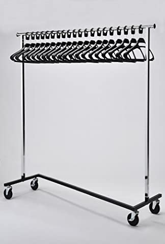 RACK52 Mobiler Kleiderständer mit Bügeln, Chrom Stand Office Garderobe Kleiderbügel, Schwarz