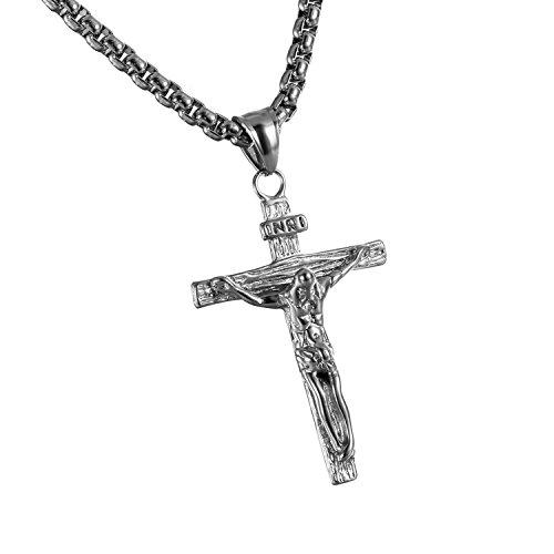 Cupimatch Herren Halskette, Exquisit Edelstahl Kruzifix Kreuz Jesus Anhänger mit 55 Kette Halsband, schwarz