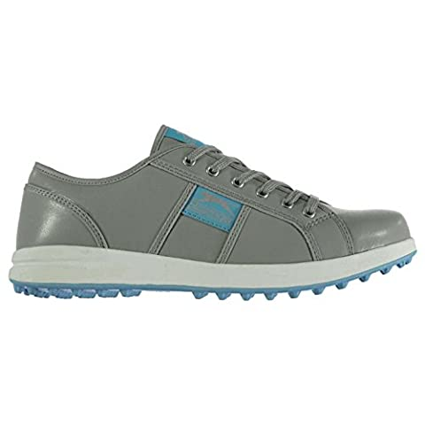 Slazenger Womens Casual Spikeless Golf Lace Up Shoes Colour Contrasting Grey/Blue UK 5.5 (38.5)