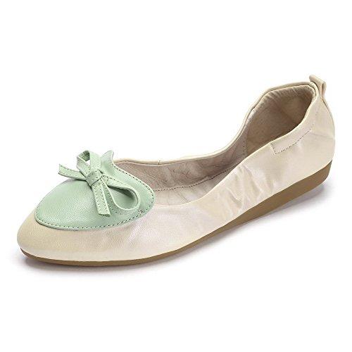 VogueZone009 Femme à Talon Bas Couleurs Mélangées Tire Pointu Chaussures à Plat Abricot