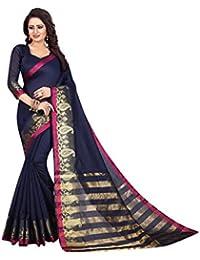 Saree For Women Latest Design(Perfectblue Women's Cotton Silk Saree With Blouse Piece (9iLamVariation)