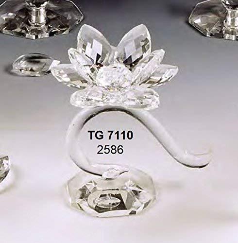 Oggettistica per bomboniere elegante portacandela curvo piccolo fiore in cristallo swarovski