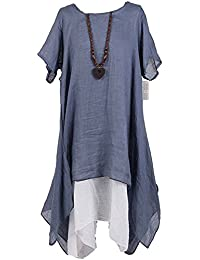 dc0ce85cf8 New Ladies Italian Linen Dress Women Short Sleeve Top Lagenlook Top Plus  Sizes