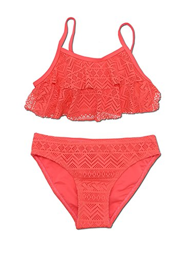 SHEKINI Mädchen Zweiteiler Bikini Badeanzug Teenager Bademode Spitze Schwimmanzug Tankini Set (14-16Year/170-176cm, Hellrot) (Bikini Mädchen Neue)