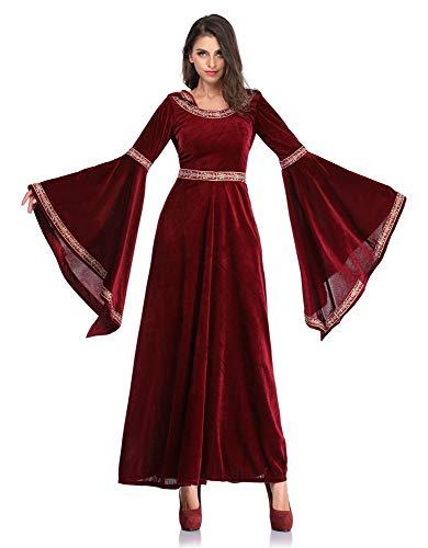 Heidnisches Kostüm Ritual - Paris Halloween Weinrot Vampir Zauberer Kostüm European Vintage Court Dress Up Gericht Kleid,L