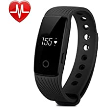 Willful fitness tracker pulsera Pulsera Inteligente Monitor de pulso cardiaco Bluetooth Pulsera Inteligente Deporte Actividad Tracker con contador de calorias/monitor de sueño/contador de pasos/reloj,Compatible con iOS, Android Smartphone Soporta Llamada Mensaje SIM