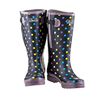 Extra Wide Calf Polka Dot Wellies - up to 57cm Calf - Widest Fit Wellies in UK - Large in The Foot and Ankle