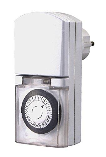 ZEITSCHALTUHR STECKDOSE Tempo OUTDOOR von 4smile | mechanische Schaltuhr mit Tagesprogramm (24h) 48 Schaltzeiten pro Tag | für den Außenbereich IP 44 | Kinderschutz | Farbe: weiß