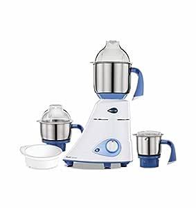 Preethi Blue Leaf Diamond 750-Watt Mixer Grinder with 3 Jars, Blue/White
