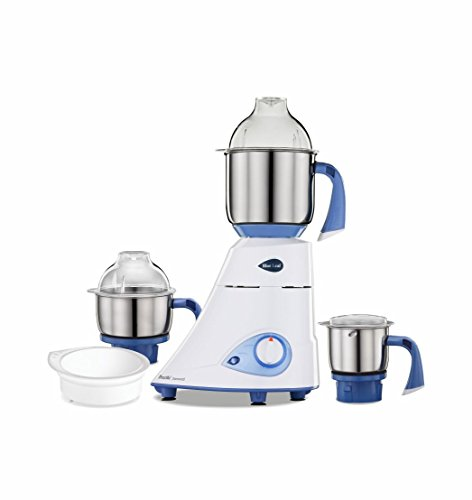 Preethi Blue Leaf Diamond 750-Watt Mixer Grinder with 3 Jars, Blue/White