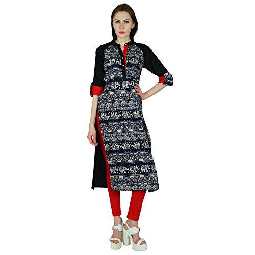 Bimba Rayon personnalisé Courte Kurti Avec manches 3/4 Black Top Formal Blouse Multicolore