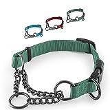 CarlCurt - Training Line: Retriever-Hundehalsband Aus Strapazierfähigem Nylon, Verstellbar, 43-60cm, Grün