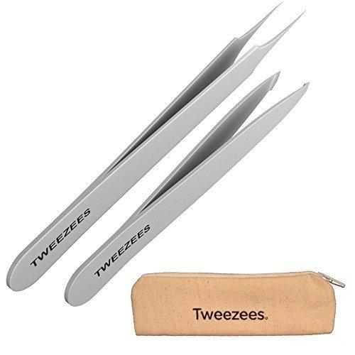 Tweezees / Praezise Edelstahl Pinzette - Professionell abgerundete feine Spitze / Bestes Set fuer Augenbrauen Zupfen fuer Frauen und Maenner