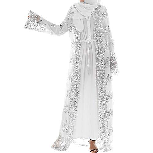 Lucky Mall Frauen Stickerei und Pailletten Islamisch Kittel, Damen Muslim Kleidung Sommer Lange Ärmel Ramadan Bluse Mittlerer Osten Saudi Arabisch Traditionell Ethnische Kleidung