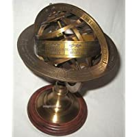 magicaldeco–Astrolabio esférico (latón envejecido, protección XL de oxidación, sobre zócalo de madera muy inoxidable