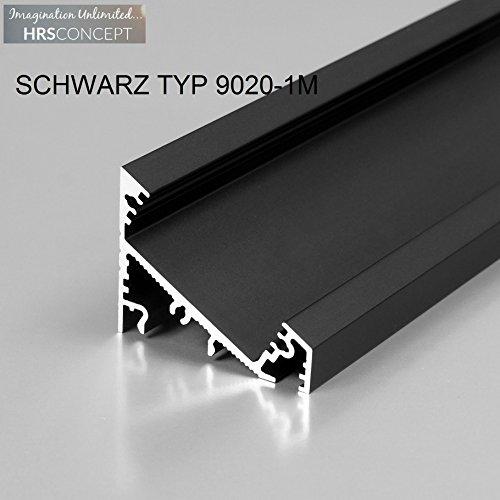 Leuchtstoff-licht-halter (LED Alu Profil Leiste für LED Streifen / SCHWARZ TYP 9020 1M OPAL / HELITEC Aluminium Abdeckung Profil Streifen Schiene für LED-Strip Streifen Band schwarz)