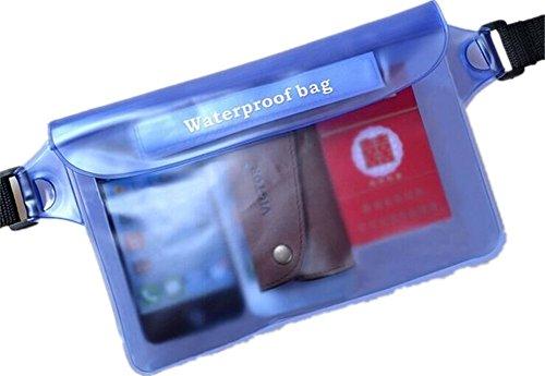 Pack Tasche, wasserdicht, mit Taille Riemen für Tasche Schwimmen Tauchen Tasche Blau - blau