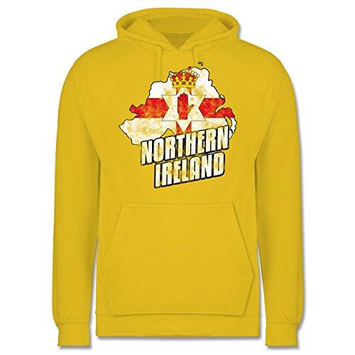 EM 2016 - Frankreich - Northern Ireland Umriss Vintage - Männer Premium  Kapuzenpullover / Hoodie Gelb