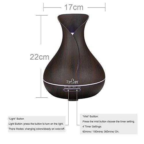 Tomshine 400ml Aroma Diffusor mit Holzmaserung   Flüsterleise – Einstellbar – mit 7 Lichtfarben - 7