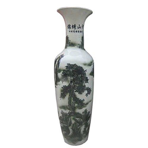 waist-drum-type-floor-vase-of-underglaze-green-ink-and-white-glazed-porcelain-cloud-sea-ancient-pine