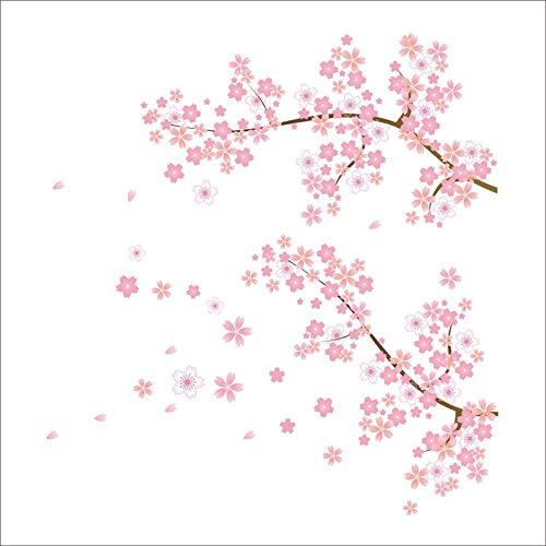 QIANGST rosa Kirschblüten Baum romantischen Garten DIY Haus Aufkleber Wand Aufkleber Mädchen Schlafzimmer Wand Kunst TV Hintergrund dekorative Plakat (Kirschblüten-baum-wand-aufkleber)