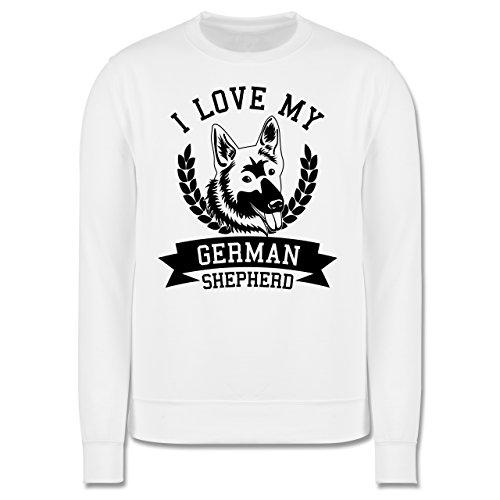 Hunde - I love my German Shepherd - Herren Premium Pullover Weiß
