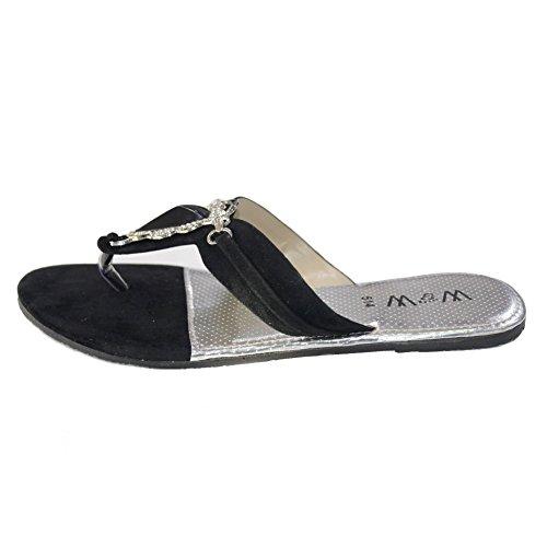 W & W Frauen Damen Abend auf Casual Slip flach Komfort Sandale mit Schuhe Größe Zitrone, Kastanienbraun, schwarz (san514) Schwarz