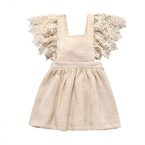 squarex Infant Kid Baby Mädchen Kinder Sleeveless Lace Floral Solide Princess Dress Kleidung Nette Komfortable Freizeitkleidung