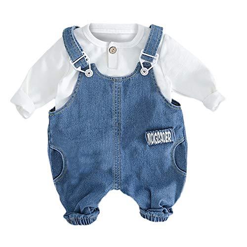 Doublelift Niedliche Kinderbekleidung Kleinkinder Strampler Pyjama kostüm Jumpsuit Spielanzug Kleinkind Baby Jungen Mädchen einfarbig T-Shirt Tops Overall Set Einfarbiges Top + Plissierte Jeans