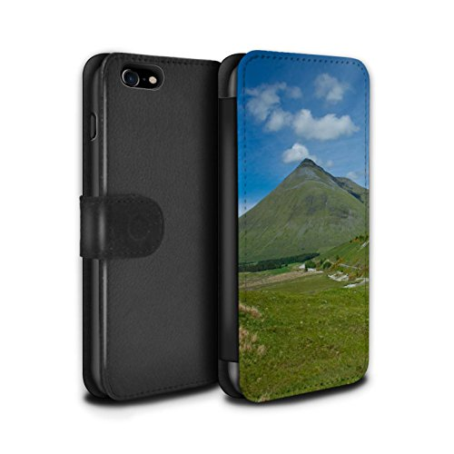 STUFF4 PU-Leder Hülle/Case/Tasche/Cover für Apple iPhone 7 / Tal Muster / Schottisch Landschaft Kollektion Berg