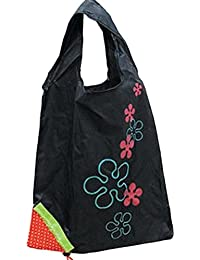Designeez Hot Fashion Cute Strawberry Foldable Reusable Shopping Storage Bag Women Travel Grocery Bags Tote (Black)