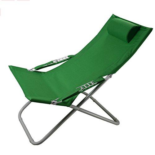 KFXL yizi Chaise pliante de toile simple de ménage/inclinable de siesta de bureau/chaise de plage portative extérieure/chaise de dossier de jardin de balcon (Couleur : Green)