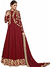 Sai Saree Suits Women's Designer Anarkali Semi-stictched Red Color Faux Georgette Salwar Suit