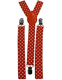 Funky Trendy Unisex Suspender Braces – Polka Dot, Hearts, Animal Print, Music Notes, Tartan, Skulls