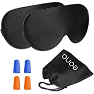 Eono Essentials Natural Silk Sleep Mask - Super Comfortable and Pure Silk Soft Eye Mask with Additional Earplugs for Sleeping, Travelling, Nap, Meditation for Men&Women (2-Pack)
