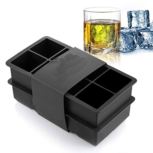 ziaon Food Grade Silicone Ice Trays 8 Cubic Cavity Black 8 Cubes Silicone Ice Cube Tray Mold - Keeps Drinks Cold for Hours - (Set of 2) (Black)