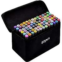 Tongfushop 80 Couleurs Marqueurs, SGS Certifiés Feutres Kit Double Pointe Stylo Marqueur d'Aquarelle, Crayon de Feutre Marker Créatif pour Débutants Graffiti