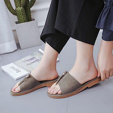 zhENfu donna pantofole & amp; flip-flops sandali Comfort PU Primavera Estate Casual tacco piatto verde nero Kaki Flat Khaki
