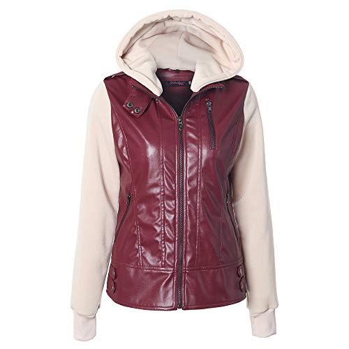 Discount Boutique Damenmode Kapuzenjacke abnehmbare Flip lässige Bluse Nähte Reißverschlusstasche Lederjacke