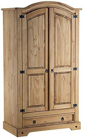 Birlea Corona 2-Door 1-Drawer Wardrobe - Waxed Pine